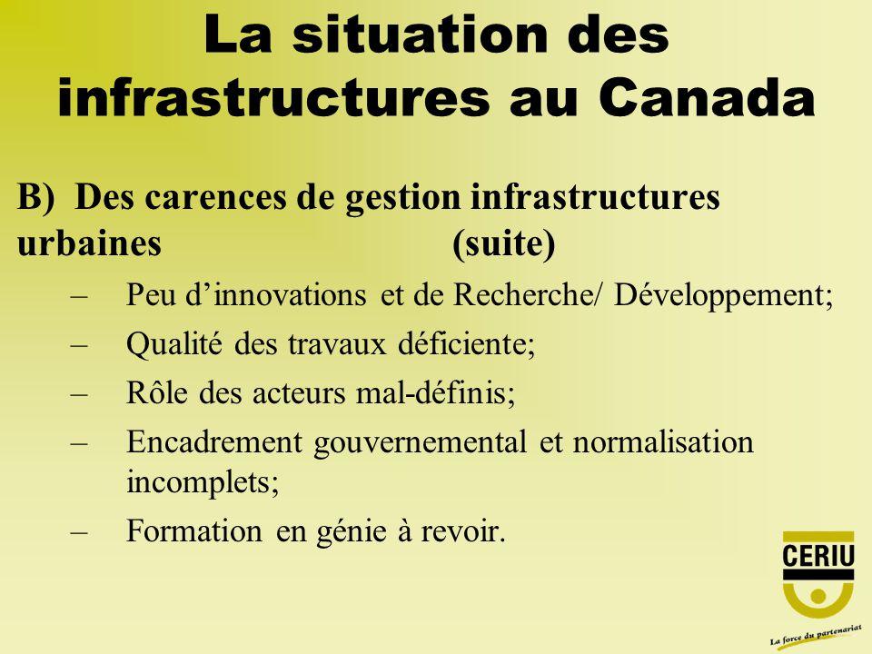 B) Des carences de gestion infrastructures urbaines (suite) –Peu dinnovations et de Recherche/ Développement; –Qualité des travaux déficiente; –Rôle d