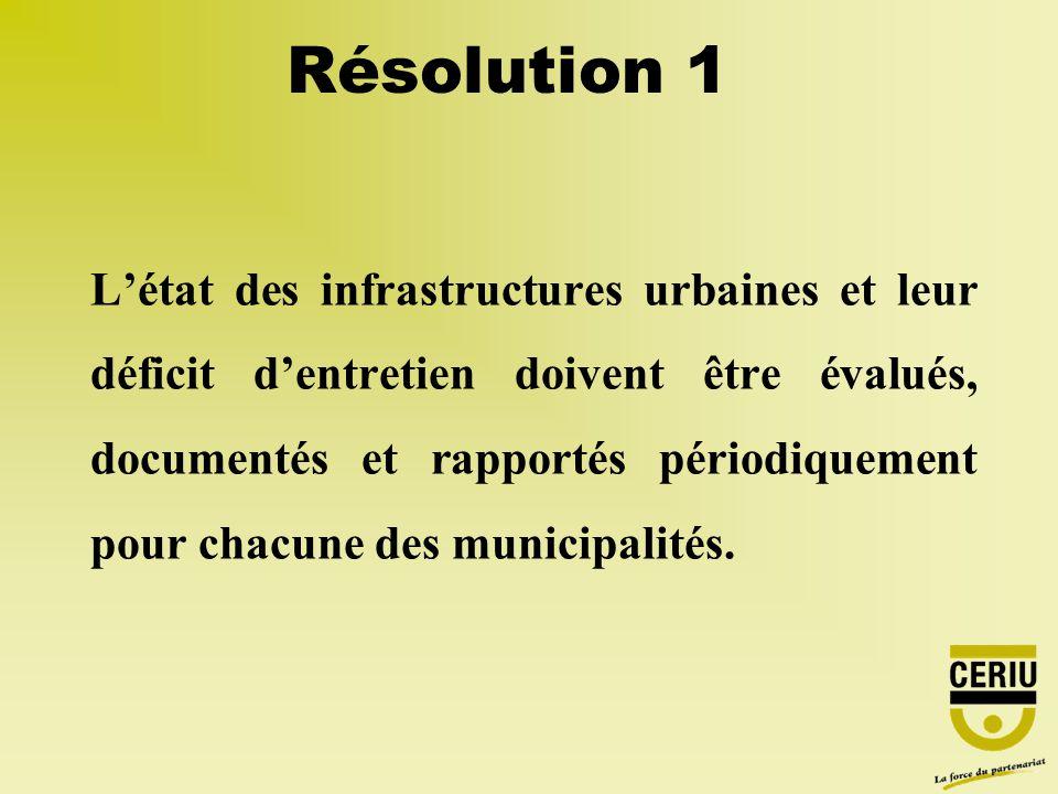 Résolution 1 Létat des infrastructures urbaines et leur déficit dentretien doivent être évalués, documentés et rapportés périodiquement pour chacune des municipalités.