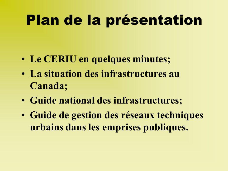 Plan de la présentation Le CERIU en quelques minutes; La situation des infrastructures au Canada; Guide national des infrastructures; Guide de gestion