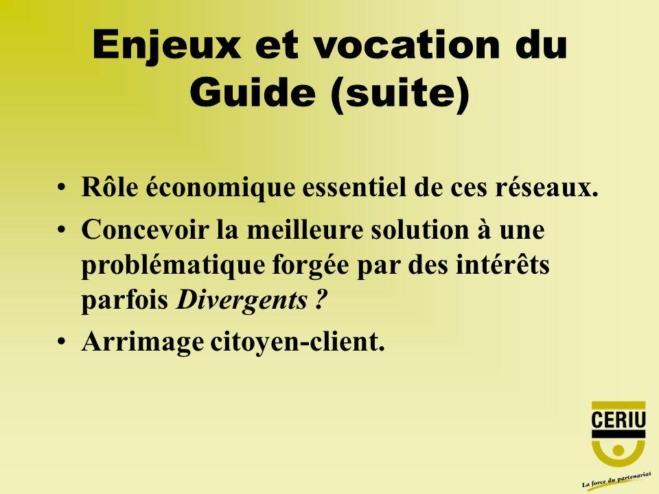 Enjeux et vocation du Guide (suite) Rôle économique essentiel de ces réseaux. Concevoir la meilleure solution à une problématique forgée par des intér