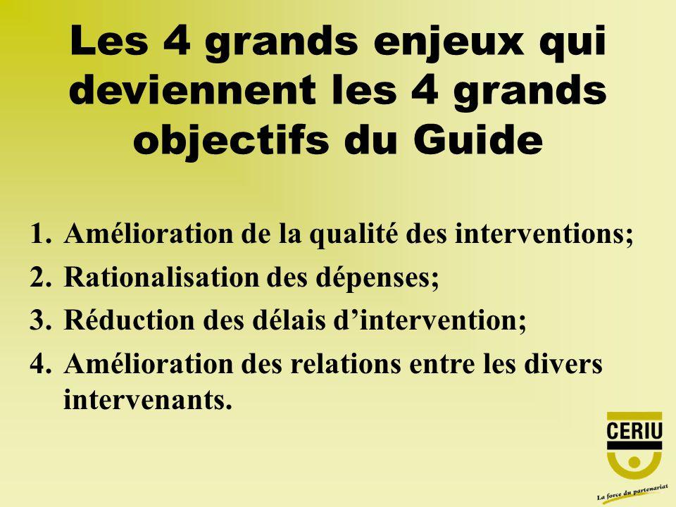 Les 4 grands enjeux qui deviennent les 4 grands objectifs du Guide 1.Amélioration de la qualité des interventions; 2.Rationalisation des dépenses; 3.Réduction des délais dintervention; 4.Amélioration des relations entre les divers intervenants.