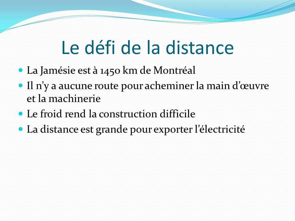 Le défi de la distance La Jamésie est à 1450 km de Montréal Il ny a aucune route pour acheminer la main dœuvre et la machinerie Le froid rend la const
