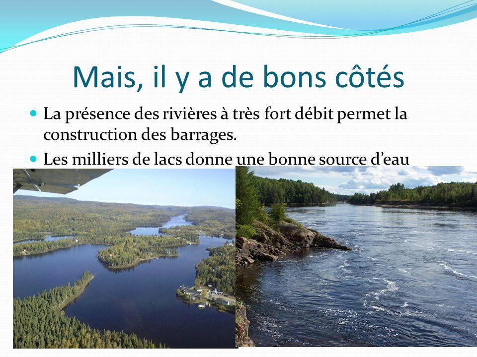 Mais, il y a de bons côtés La présence des rivières à très fort débit permet la construction des barrages. Les milliers de lacs donne une bonne source