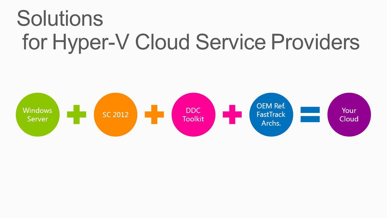 Windows Server SC 2012 DDC Toolkit OEM Ref. FastTrack Archs. Your Cloud