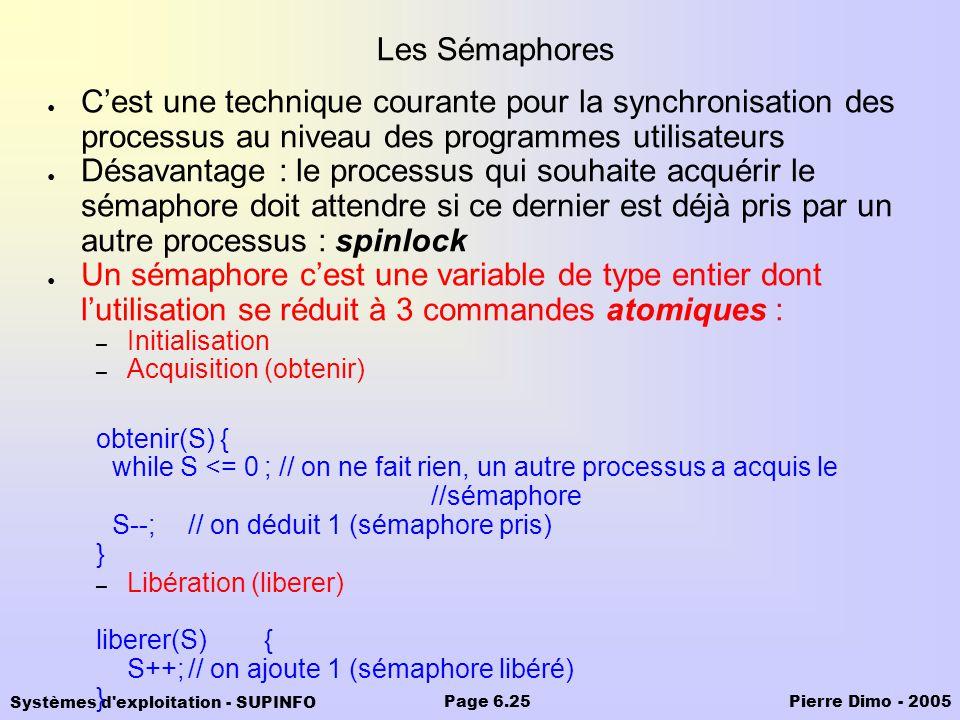 Systèmes d'exploitation - SUPINFO Pierre Dimo - 2005Page 6.25 Les Sémaphores Cest une technique courante pour la synchronisation des processus au nive