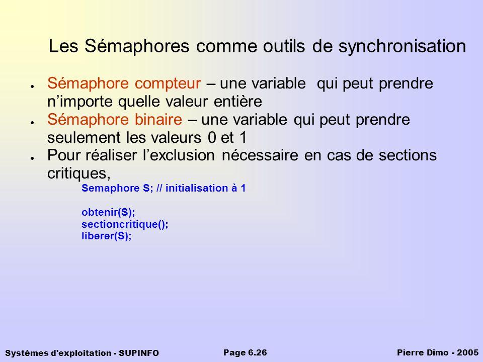 Systèmes d'exploitation - SUPINFO Pierre Dimo - 2005Page 6.26 Les Sémaphores comme outils de synchronisation Sémaphore compteur – une variable qui peu