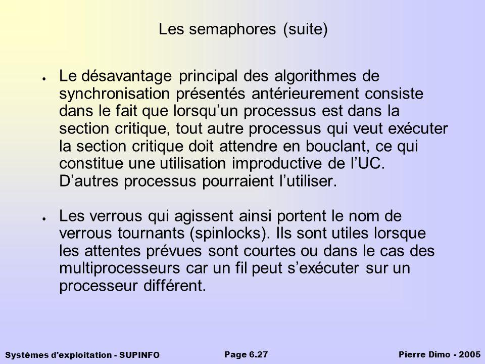 Systèmes d'exploitation - SUPINFO Pierre Dimo - 2005Page 6.27 Le désavantage principal des algorithmes de synchronisation présentés antérieurement con