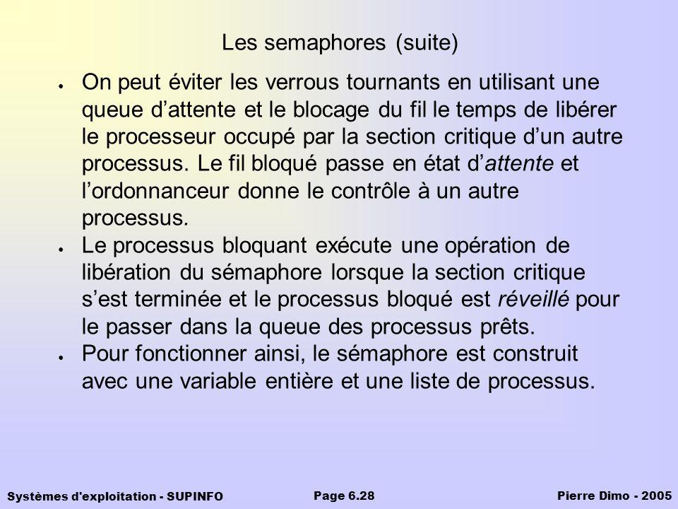 Systèmes d'exploitation - SUPINFO Pierre Dimo - 2005Page 6.28 On peut éviter les verrous tournants en utilisant une queue dattente et le blocage du fi