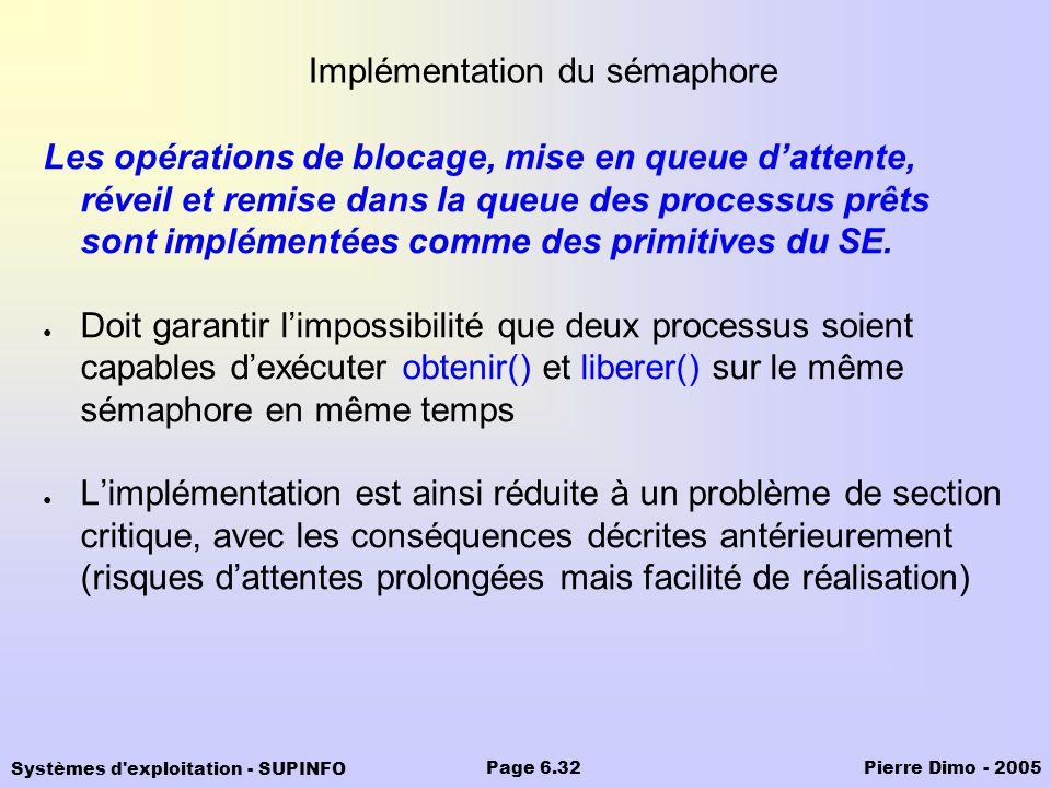 Systèmes d'exploitation - SUPINFO Pierre Dimo - 2005Page 6.32 Implémentation du sémaphore Les opérations de blocage, mise en queue dattente, réveil et