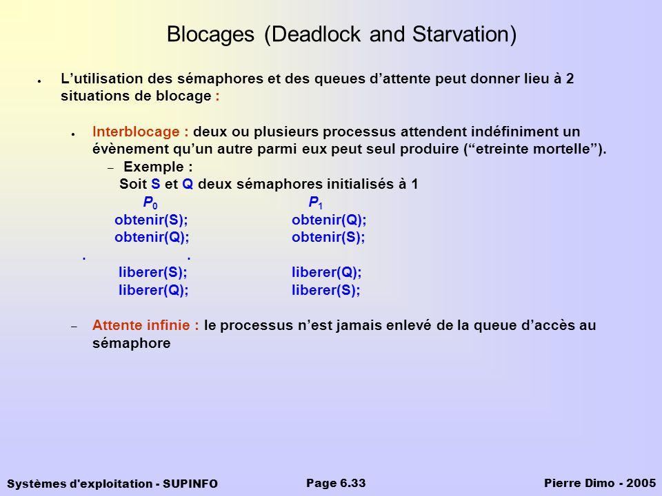 Systèmes d'exploitation - SUPINFO Pierre Dimo - 2005Page 6.33 Blocages (Deadlock and Starvation) Lutilisation des sémaphores et des queues dattente pe
