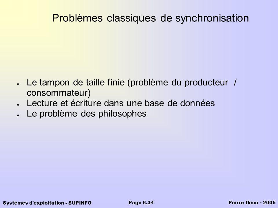 Systèmes d'exploitation - SUPINFO Pierre Dimo - 2005Page 6.34 Problèmes classiques de synchronisation Le tampon de taille finie (problème du producteu