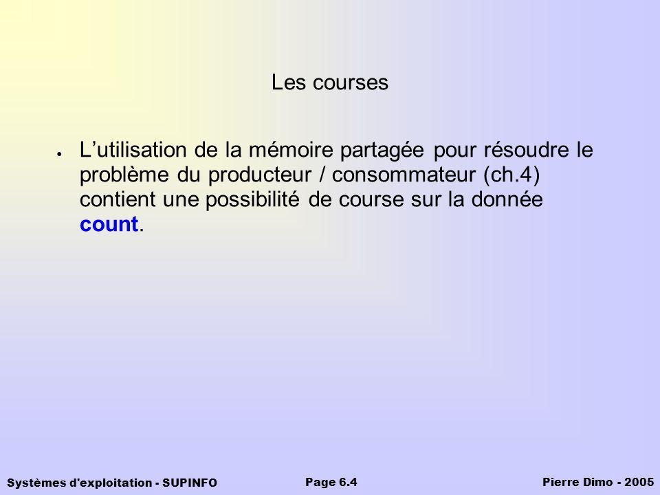 Systèmes d'exploitation - SUPINFO Pierre Dimo - 2005Page 6.4 Les courses Lutilisation de la mémoire partagée pour résoudre le problème du producteur /
