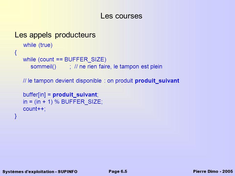 Systèmes d'exploitation - SUPINFO Pierre Dimo - 2005Page 6.5 Les courses Les appels producteurs while (true) { while (count == BUFFER_SIZE) sommeil()