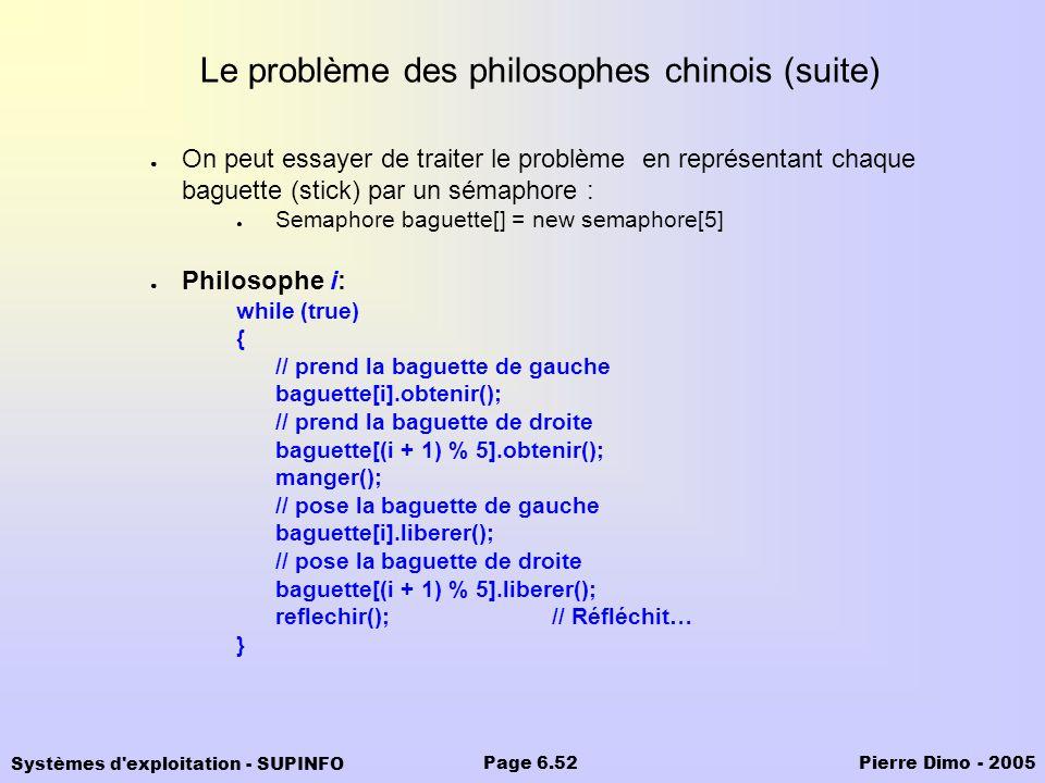 Systèmes d'exploitation - SUPINFO Pierre Dimo - 2005Page 6.52 Le problème des philosophes chinois (suite) On peut essayer de traiter le problème en re