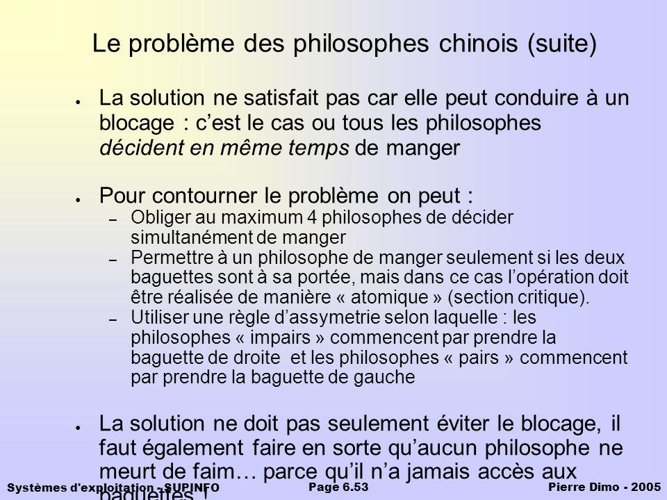 Systèmes d'exploitation - SUPINFO Pierre Dimo - 2005Page 6.53 Le problème des philosophes chinois (suite) La solution ne satisfait pas car elle peut c