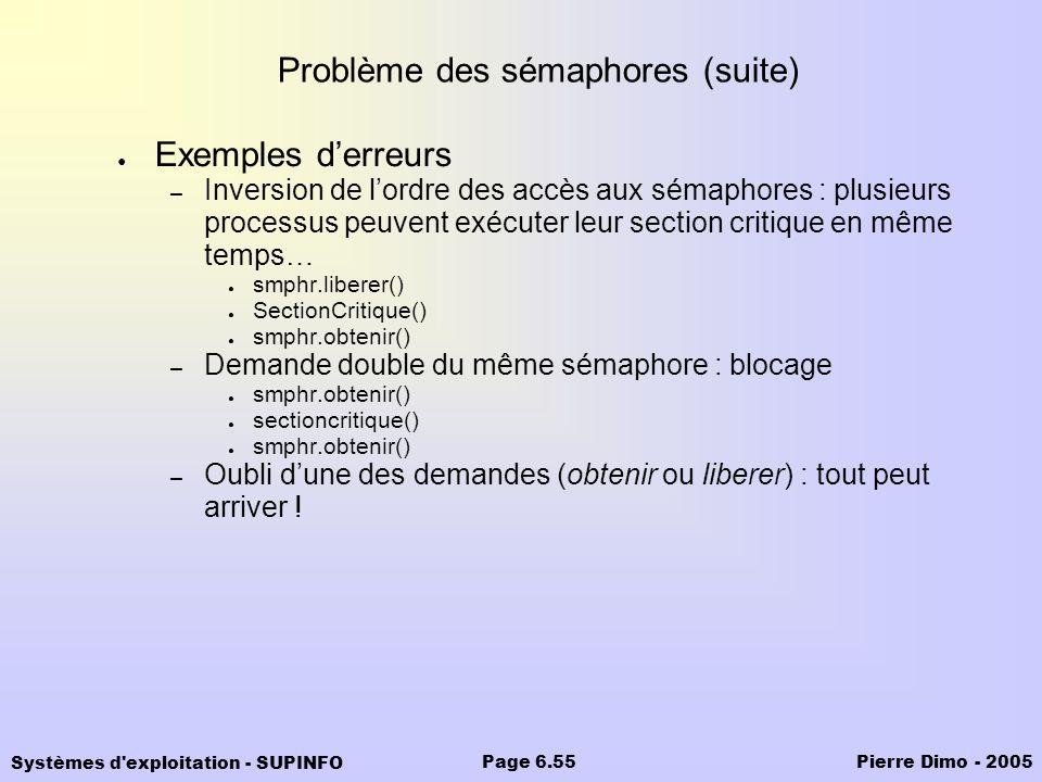 Systèmes d'exploitation - SUPINFO Pierre Dimo - 2005Page 6.55 Problème des sémaphores (suite) Exemples derreurs – Inversion de lordre des accès aux sé