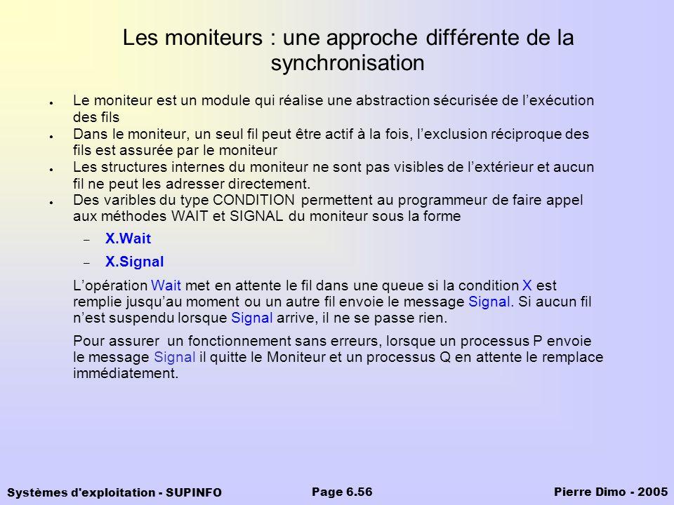 Systèmes d'exploitation - SUPINFO Pierre Dimo - 2005Page 6.56 Les moniteurs : une approche différente de la synchronisation Le moniteur est un module
