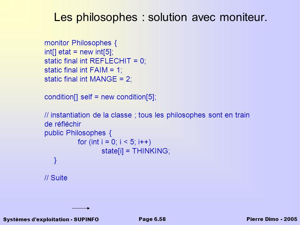 Systèmes d'exploitation - SUPINFO Pierre Dimo - 2005Page 6.58 Les philosophes : solution avec moniteur. monitor Philosophes { int[] etat = new int[5];