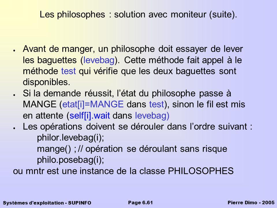 Systèmes d'exploitation - SUPINFO Pierre Dimo - 2005Page 6.61 Les philosophes : solution avec moniteur (suite). Avant de manger, un philosophe doit es