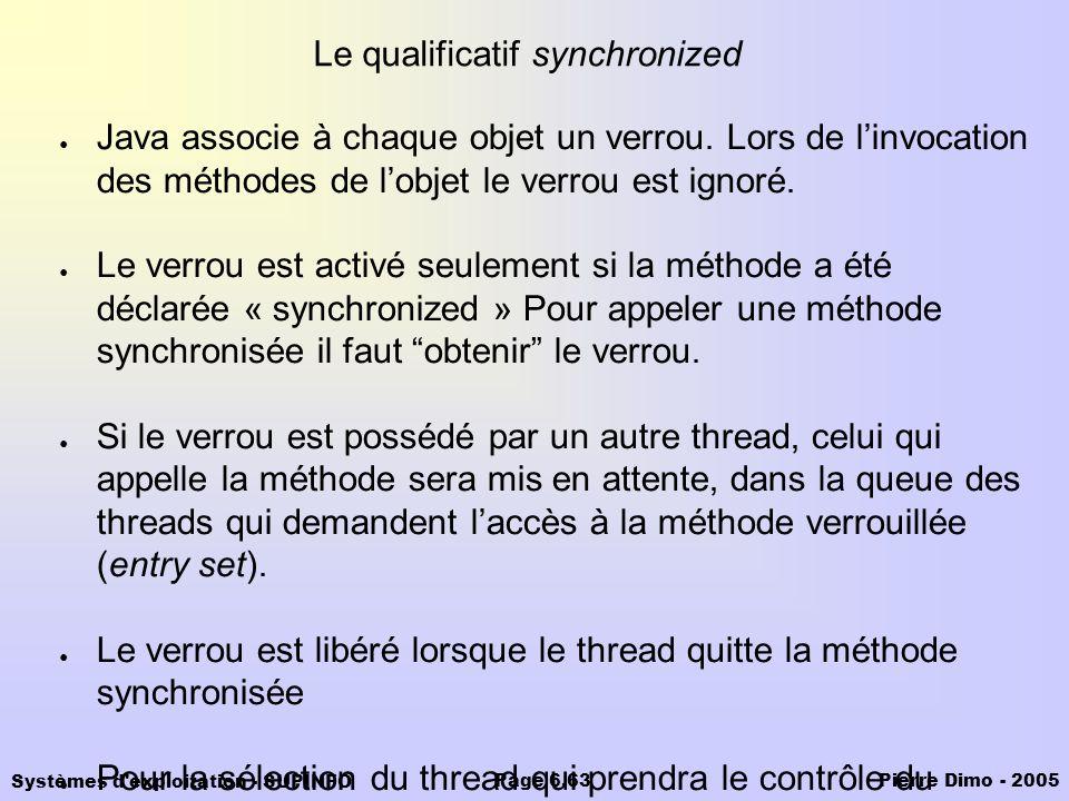 Systèmes d'exploitation - SUPINFO Pierre Dimo - 2005Page 6.63 Le qualificatif synchronized Java associe à chaque objet un verrou. Lors de linvocation