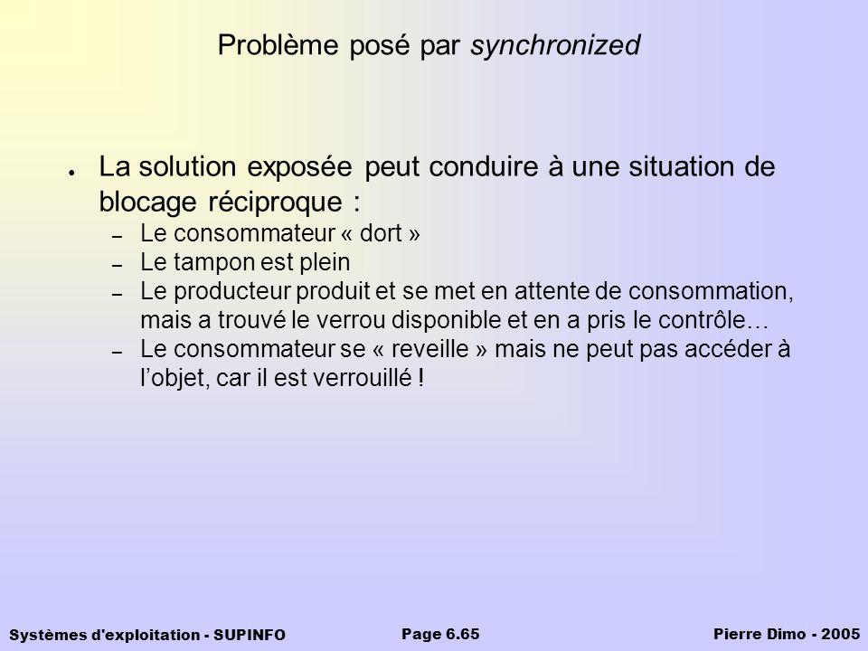 Systèmes d'exploitation - SUPINFO Pierre Dimo - 2005Page 6.65 Problème posé par synchronized La solution exposée peut conduire à une situation de bloc