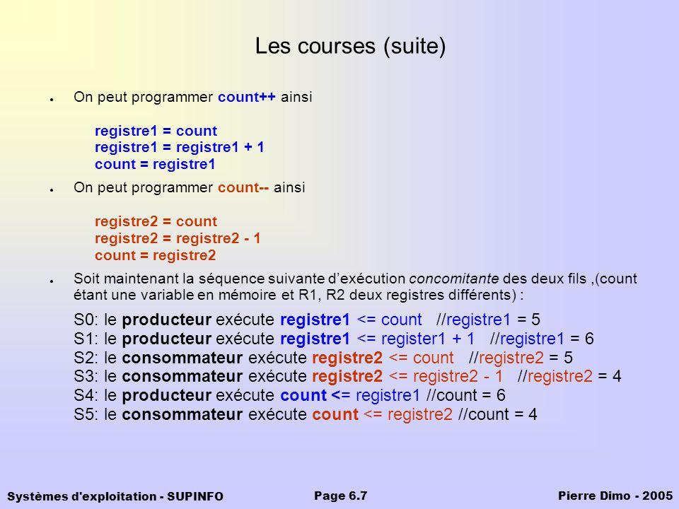 Systèmes d'exploitation - SUPINFO Pierre Dimo - 2005Page 6.7 Les courses (suite) On peut programmer count++ ainsi registre1 = count registre1 = regist