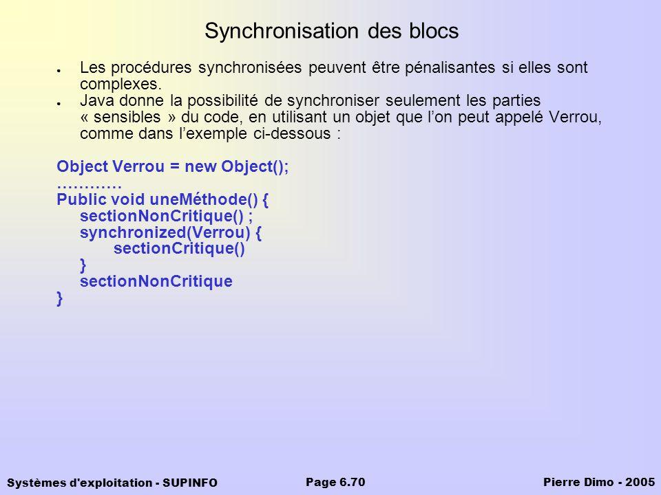 Systèmes d'exploitation - SUPINFO Pierre Dimo - 2005Page 6.70 Synchronisation des blocs Les procédures synchronisées peuvent être pénalisantes si elle