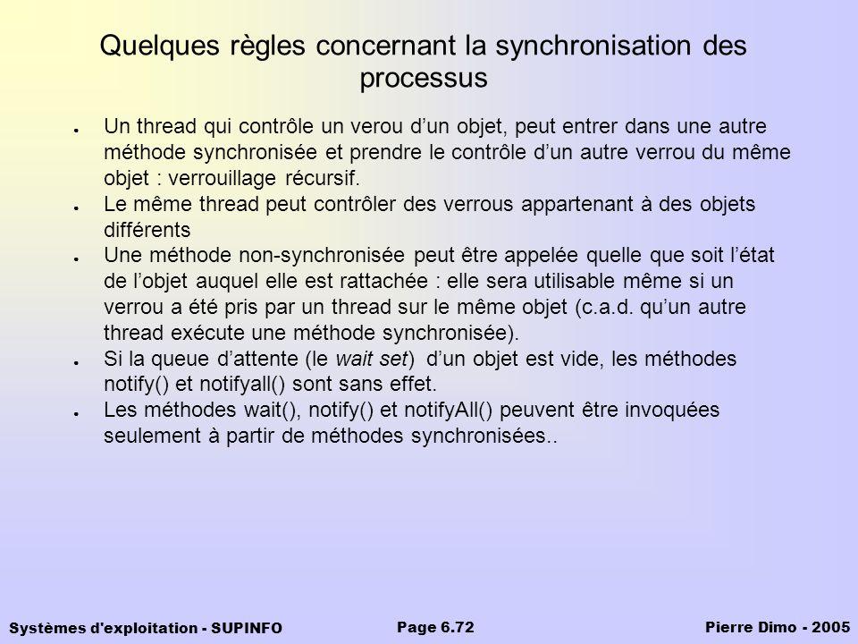 Systèmes d'exploitation - SUPINFO Pierre Dimo - 2005Page 6.72 Quelques règles concernant la synchronisation des processus Un thread qui contrôle un ve