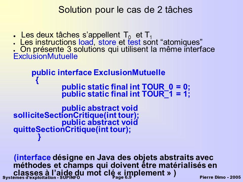 Systèmes d'exploitation - SUPINFO Pierre Dimo - 2005Page 6.9 Solution pour le cas de 2 tâches Les deux tâches sappellent T 0 et T 1 Les instructions l