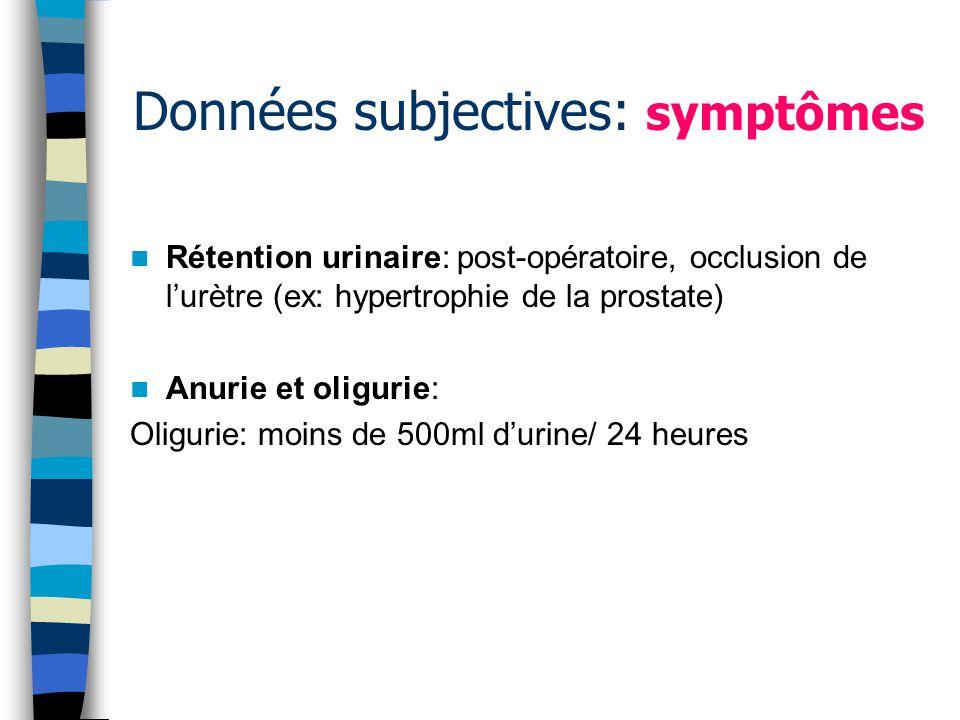 Données subjectives: symptômes Rétention urinaire: post-opératoire, occlusion de lurètre (ex: hypertrophie de la prostate) Anurie et oligurie: Oligurie: moins de 500ml durine/ 24 heures