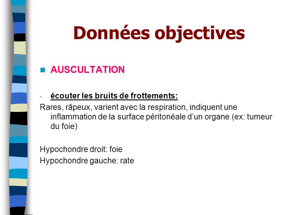 Données objectives AUSCULTATION - écouter les bruits de frottements: Rares, râpeux, varient avec la respiration, indiquent une inflammation de la surface péritonéale dun organe (ex: tumeur du foie) Hypochondre droit: foie Hypochondre gauche: rate