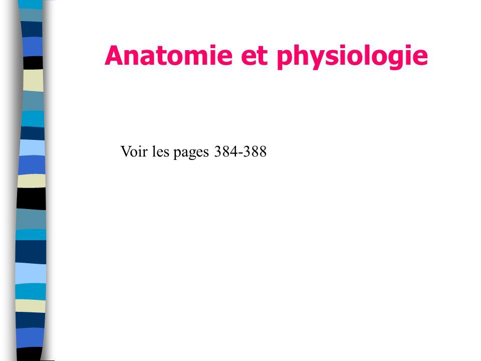 Anatomie et physiologie Voir les pages 384-388