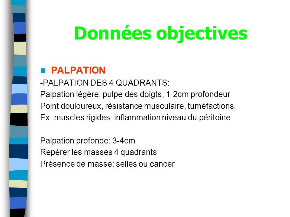 Données objectives PALPATION -PALPATION DES 4 QUADRANTS: Palpation légère, pulpe des doigts, 1-2cm profondeur Point douloureux, résistance musculaire, tuméfactions.