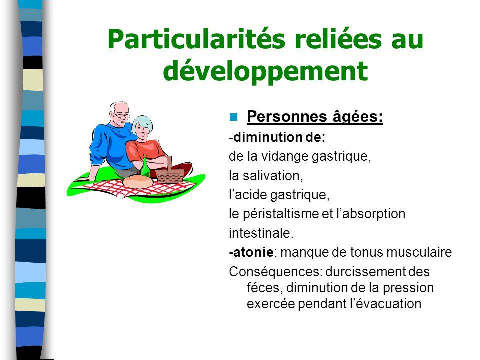 Particularités reliées au développement Personnes âgées: -diminution de: de la vidange gastrique, la salivation, lacide gastrique, le péristaltisme et labsorption intestinale.