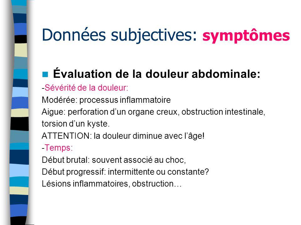 Données subjectives: symptômes Appétit / perte de poids: -non justifiée: cancer?, malabsorption?, infection.
