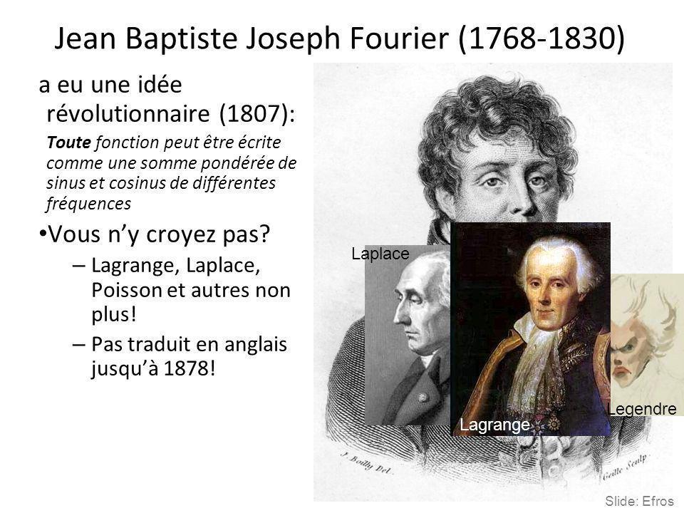 Jean Baptiste Joseph Fourier (1768-1830) a eu une idée révolutionnaire (1807): Toute fonction peut être écrite comme une somme pondérée de sinus et co