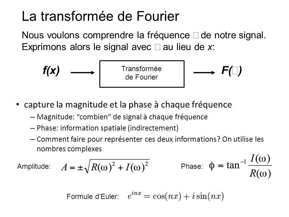 La transformée de Fourier Nous voulons comprendre la fréquence de notre signal. Exprimons alors le signal avec au lieu de x: f(x) F( ) Transformée de
