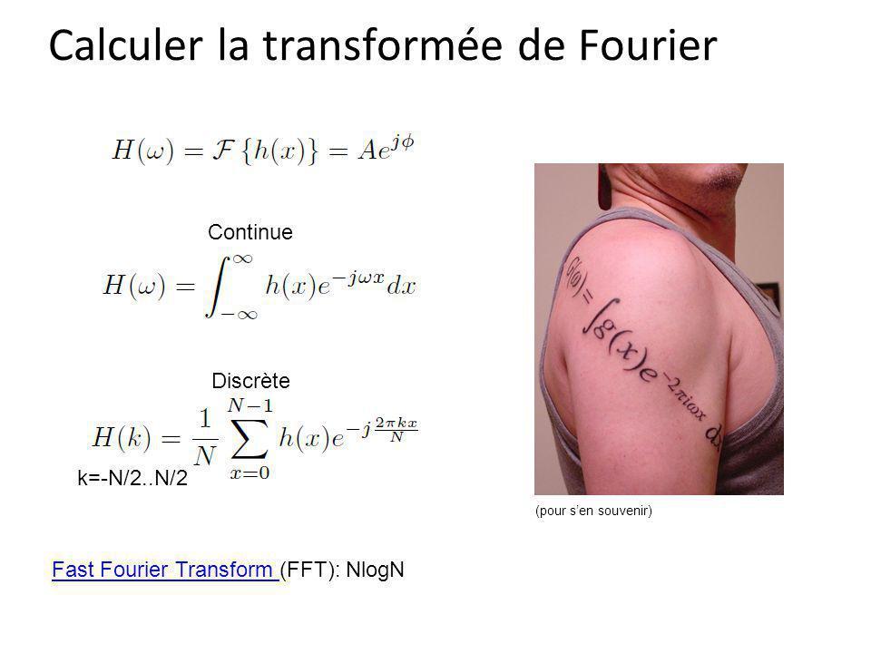 Calculer la transformée de Fourier Discrète Fast Fourier Transform Fast Fourier Transform (FFT): NlogN (pour sen souvenir) k=-N/2..N/2 Continue