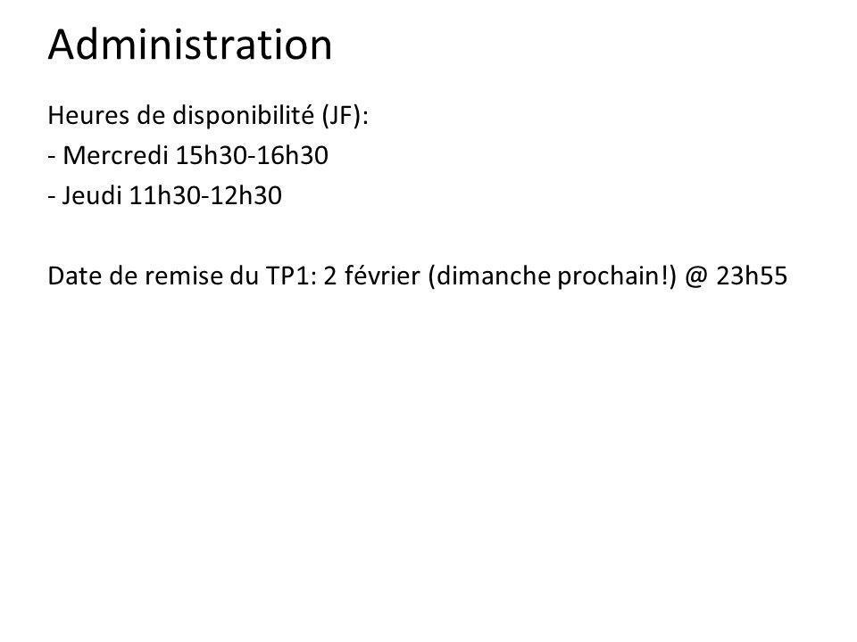 Administration Heures de disponibilité (JF): - Mercredi 15h30-16h30 - Jeudi 11h30-12h30 Date de remise du TP1: 2 février (dimanche prochain!) @ 23h55