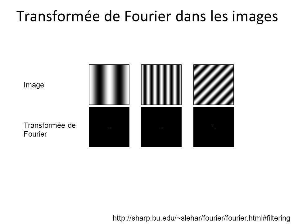 Transformée de Fourier dans les images Image Transformée de Fourier http://sharp.bu.edu/~slehar/fourier/fourier.html#filtering