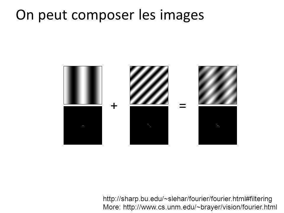 On peut composer les images += http://sharp.bu.edu/~slehar/fourier/fourier.html#filtering More: http://www.cs.unm.edu/~brayer/vision/fourier.html