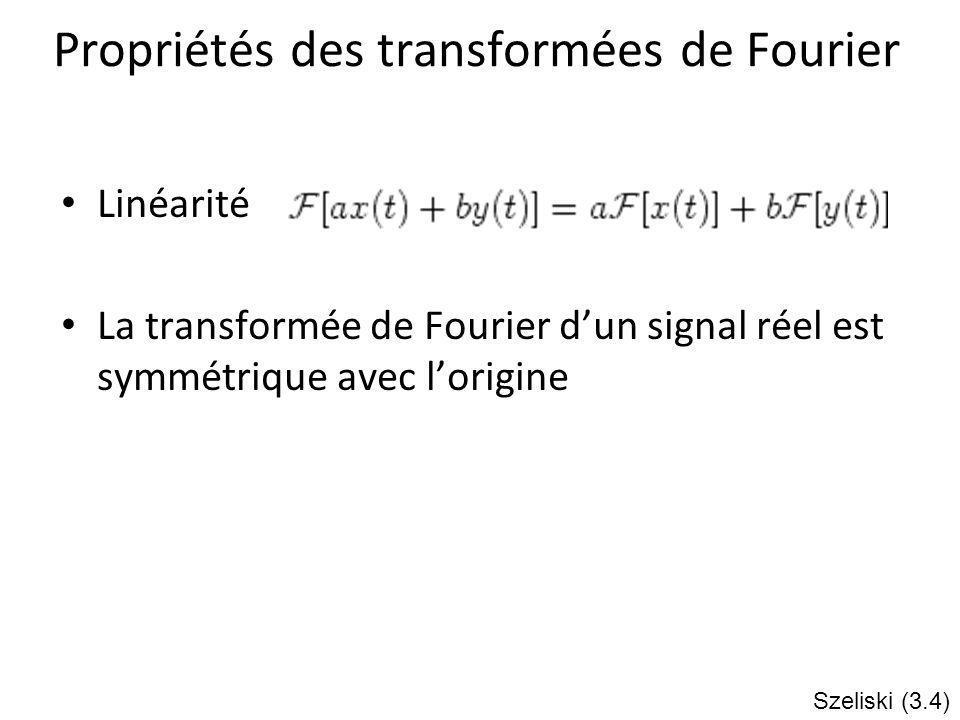 Propriétés des transformées de Fourier Linéarité La transformée de Fourier dun signal réel est symmétrique avec lorigine Szeliski (3.4)