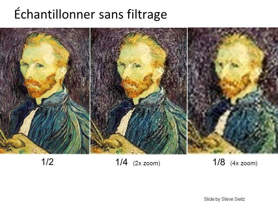 Échantillonner sans filtrage 1/4 (2x zoom) 1/8 (4x zoom) 1/2 Slide by Steve Seitz