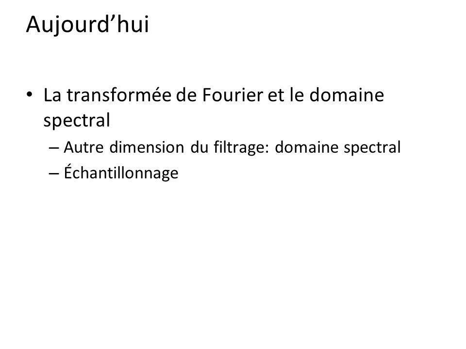 Aujourdhui La transformée de Fourier et le domaine spectral – Autre dimension du filtrage: domaine spectral – Échantillonnage