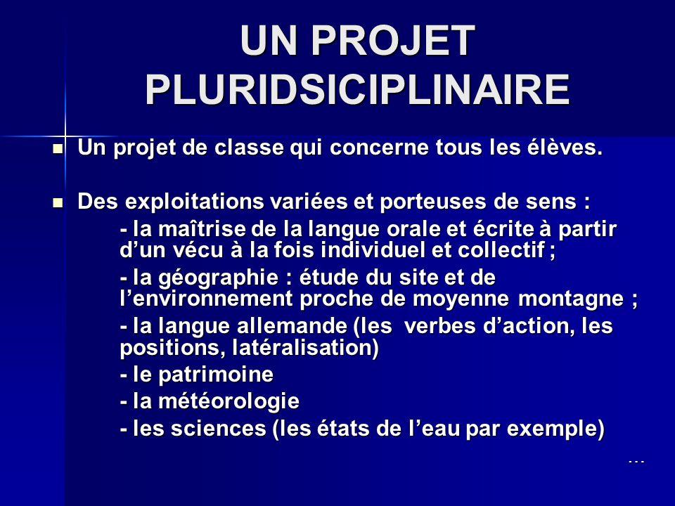 UN PROJET PLURIDSICIPLINAIRE Un projet de classe qui concerne tous les élèves.