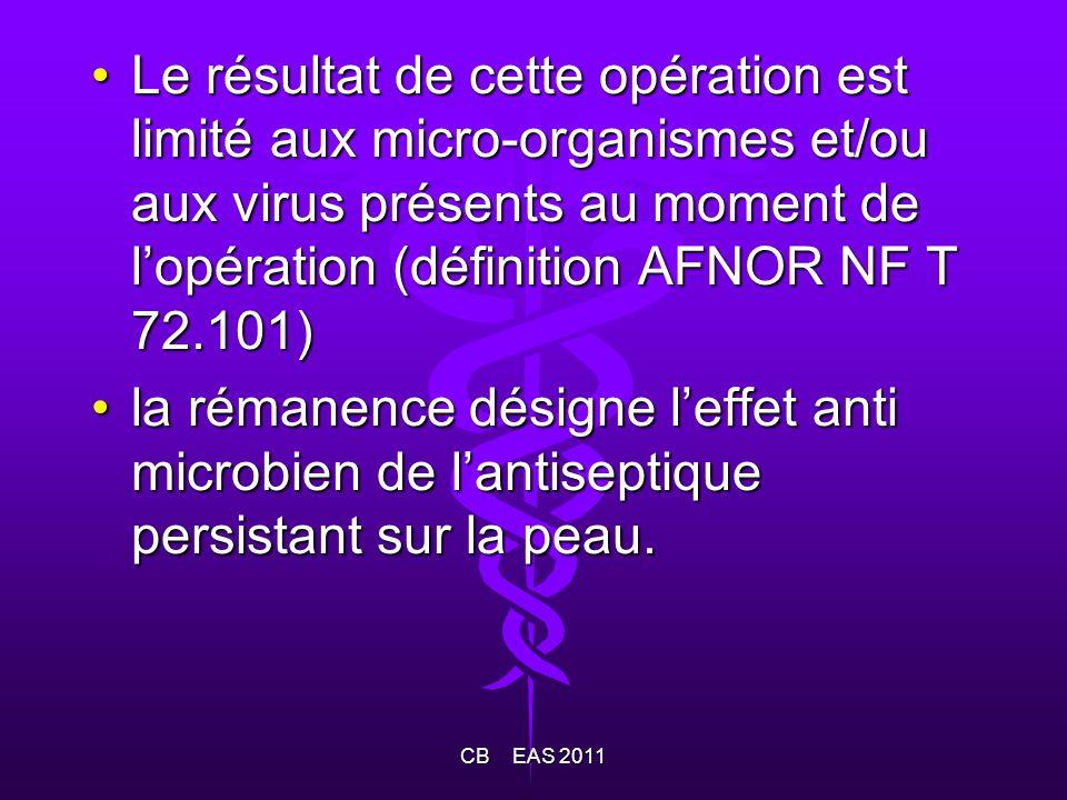 Le résultat de cette opération est limité aux micro-organismes et/ou aux virus présents au moment de lopération (définition AFNOR NF T 72.101)Le résul