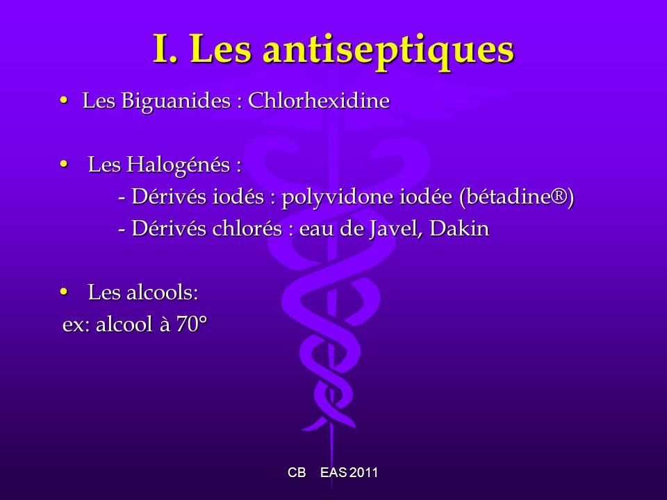 I. Les antiseptiques Les Biguanides : ChlorhexidineLes Biguanides : Chlorhexidine Les Halogénés : Les Halogénés : - Dérivés iodés : polyvidone iodée (