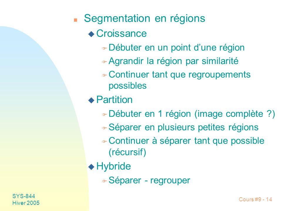 SYS-844 Hiver 2005 Cours #9 - 14 n Segmentation en régions u Croissance F Débuter en un point dune région F Agrandir la région par similarité F Continuer tant que regroupements possibles u Partition F Débuter en 1 région (image complète ?) F Séparer en plusieurs petites régions F Continuer à séparer tant que possible (récursif) u Hybride F Séparer - regrouper
