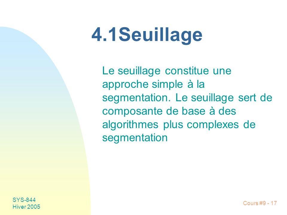 SYS-844 Hiver 2005 Cours #9 - 17 4.1Seuillage Le seuillage constitue une approche simple à la segmentation. Le seuillage sert de composante de base à