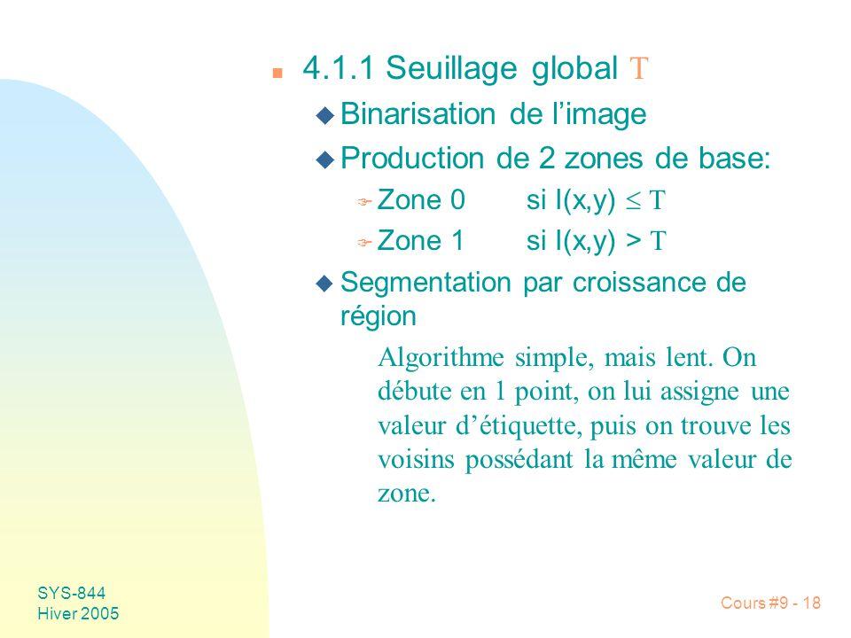 SYS-844 Hiver 2005 Cours #9 - 18 4.1.1 Seuillage global T u Binarisation de limage u Production de 2 zones de base: Zone 0si I(x,y) T Zone 1si I(x,y) > T u Segmentation par croissance de région Algorithme simple, mais lent.